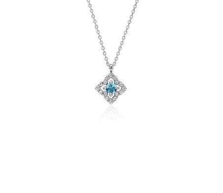 14k 白金 小巧瑞士藍托帕石與鑽石花卉吊墜<br>( 2.8毫米)