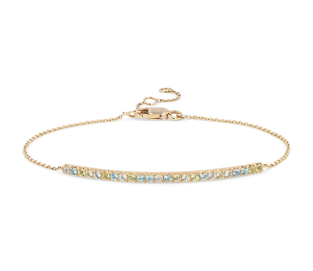 Petite Blue Topaz, Sky Blue Topaz and Peridot Bar Bracelet in 14k Yellow Gold