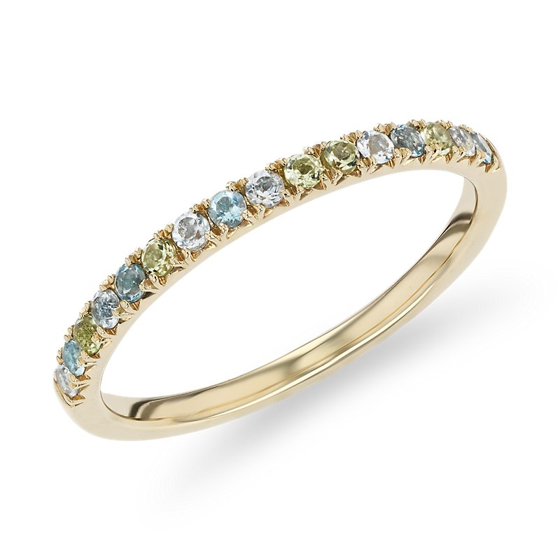 Petite Blue Topaz, Sky Blue Topaz and Peridot Ring in 14k Yellow