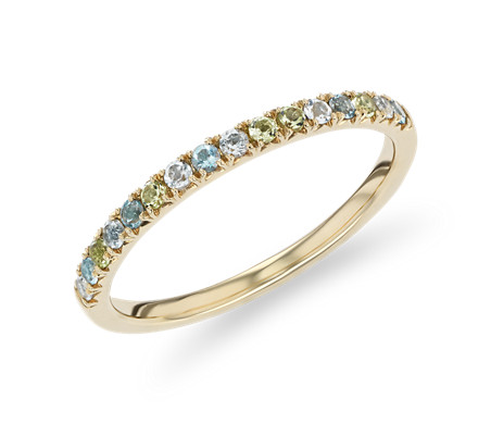 Petite Blue Topaz, Sky Blue Topaz and Peridot Ring in 14k Yellow Gold