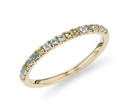 14k 金小巧蓝色托帕石、天蓝色托帕石和橄榄石戒指