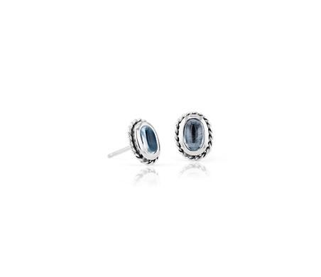 Petites puces d'oreilles topaze bleue avec halo motif corde en argent sterling (5x3mm)
