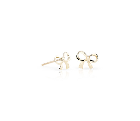Petite Bow Stud Earrings in 14k Yellow Gold