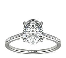 鉑金小巧大教堂密釘鑽石訂婚戒指(1/6 克拉總重量)