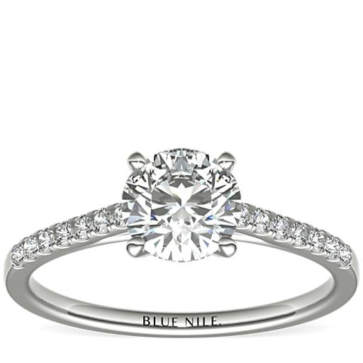 e70b8fa3dad3ed Petite Cathedral Pavé Diamond Engagement Ring in Platinum (1/6 ct. tw.) |  Blue Nile