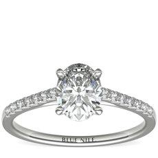 铂金小巧大教堂密钉钻石订婚戒指<br>(1/6 克拉总重量)