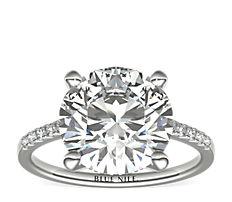 铂金小巧大教堂密钉钻石订婚戒指(1/6 克拉总重量)