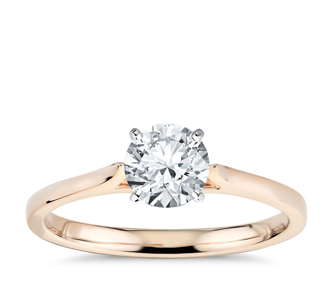 Petite Cathedral Solitaire Engagement Ring In 14k Rose