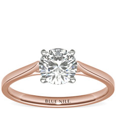 Petite Cathedral Solitaire Engagement Ring in 14k Rose Gold