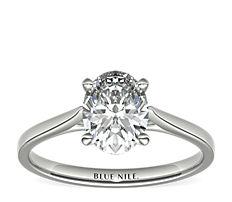 铂金小巧大教堂单石订婚戒指
