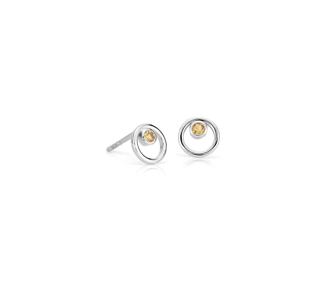Petite Open Circle Citrine Birthstone Earrings in 14k White Gold (2mm)
