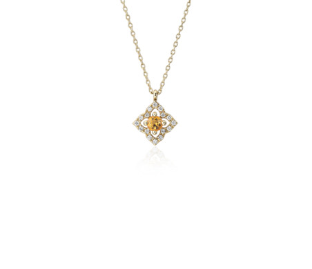 Petite Citrine and Diamond Floral Pendant in 14k Yellow Gold (2.8mm)