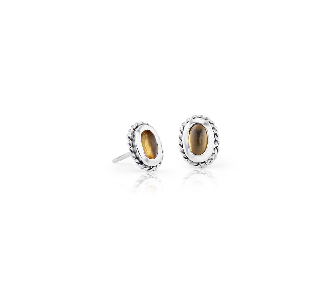 Petite Citrine Studs with Rope Halo in Sterling Silver (5x3mm)