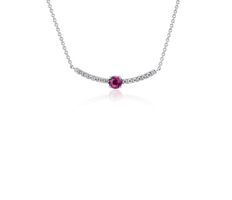 Petite Ruby and Diamond Curved Bar Necklace in 14k White Gold