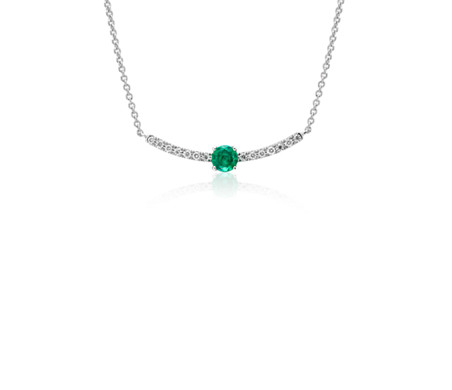 Petite Emerald and Diamond Curved Bar Necklace in 14k White Gold