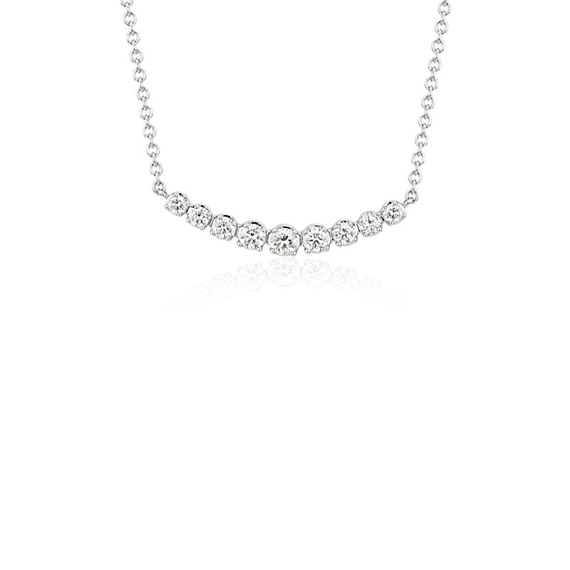 Petite Curved Diamond Bar Necklace in 18k White Gold (1/3 ct. tw.