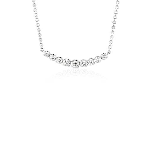 petite curved diamond bar necklace in 18k white gold 13