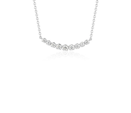 Petite Curved Diamond Necklace in 18k White Gold