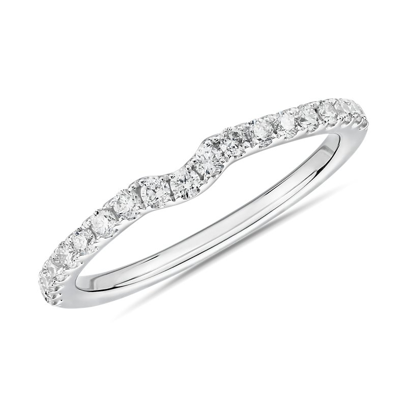 Petite Curved Diamond Wedding Ring in 14k White Gold (1/4 ct. tw.