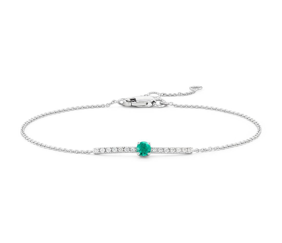 Petite Emerald and Diamond Bar Bracelet in 14k White Gold (3mm)
