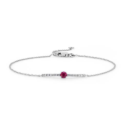 Blue Nile Petite Ruby and Diamond Bar Bracelet in 14k White Gold 3S8SIcT