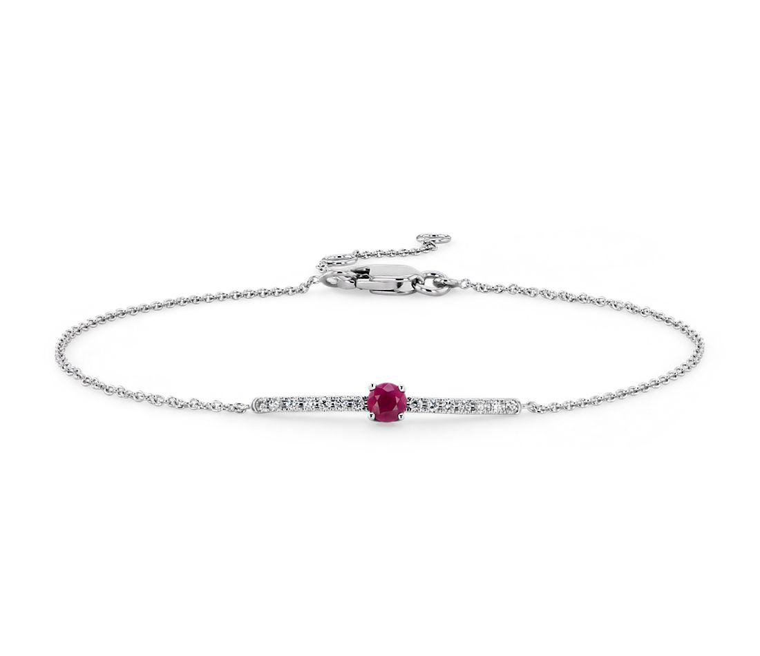 Petite Ruby and Diamond Bar Bracelet in 14k White Gold (3mm)
