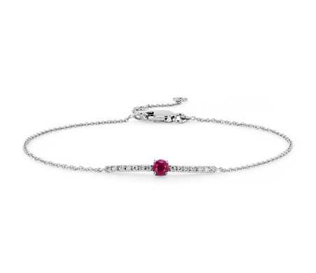 Petite Ruby and Diamond Bar Bracelet in 14k White Gold