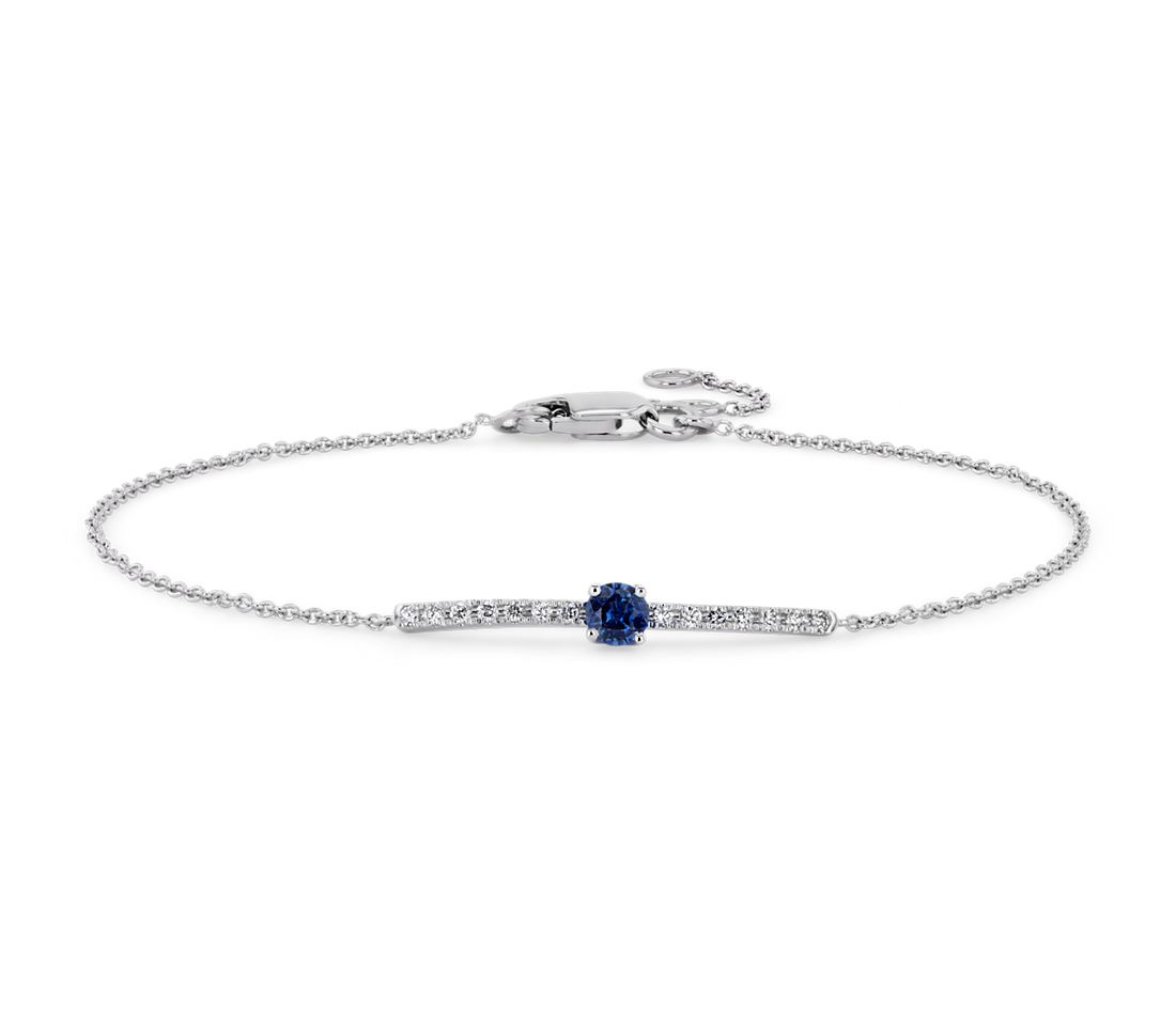 Petite Sapphire and Diamond Bar Bracelet in 14k White Gold (3mm)
