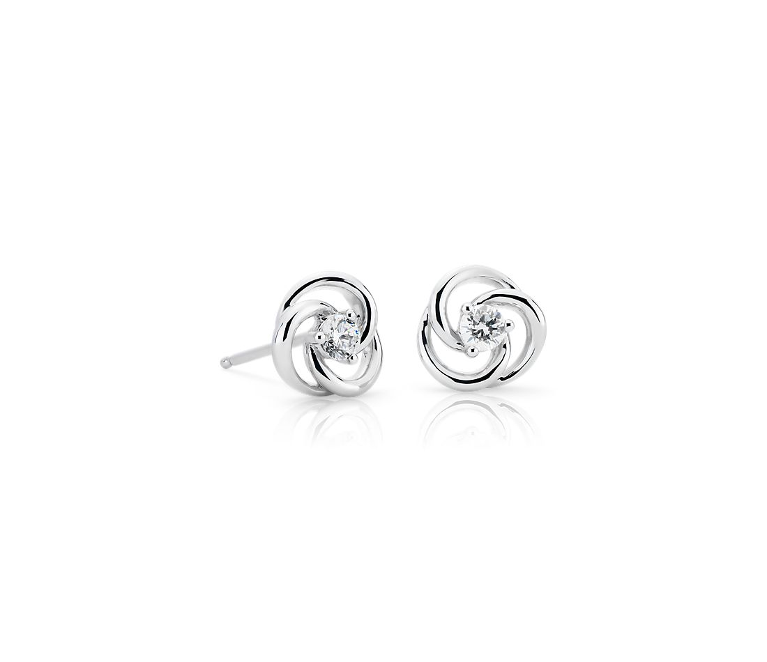 Petite Diamond Circular Twist Stud Earrings in 14k White Gold (0.18 ct. tw.)