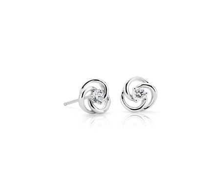 Petite Diamond Circular Twist Stud Earrings in 14k White Gold (1/5 ct. tw.)