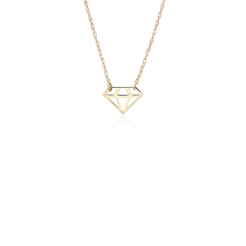 Petite Diamond Cut Out Necklace in 14k Yellow Gold