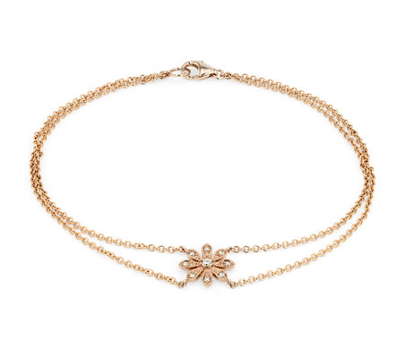 Petite Diamond Daisy Flower Bracelet in 14k Rose Gold