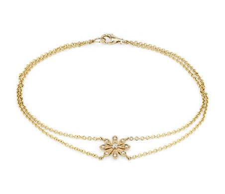 Blue Nile Studio Petit bracelet diamant motif marguerite in Or jaune 14carats