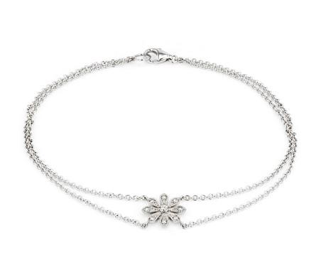 Petit bracelet diamant motif marguerite en or blanc 14carats