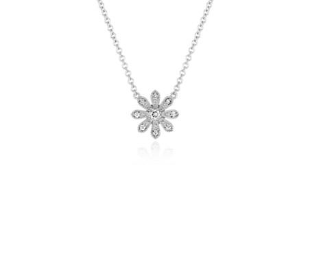 Blue Nile Studio Petite Diamond Daisy Flower Pendant in 14k White Gold