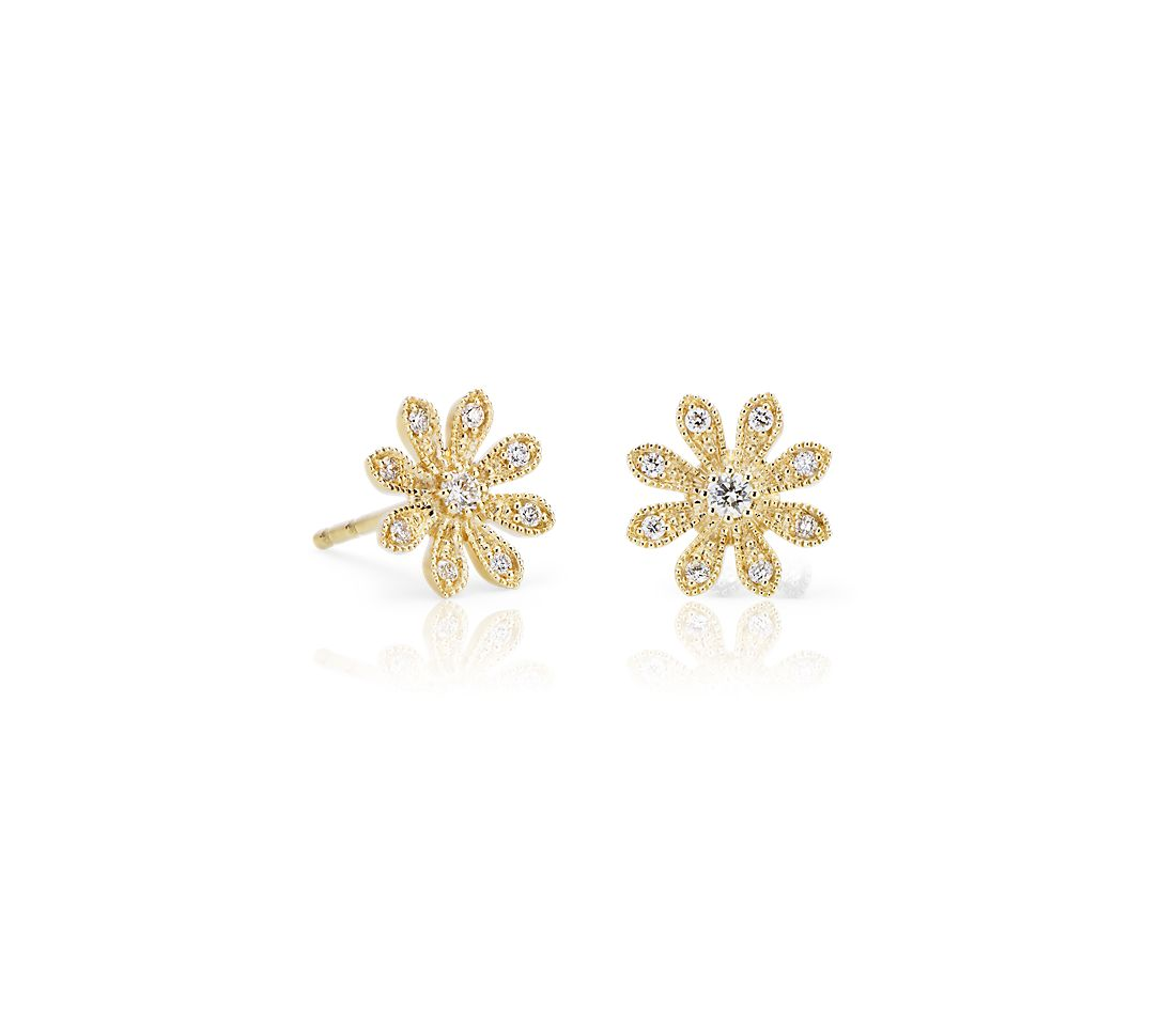 Blue Nile Studio Pee Diamond Daisy Flower Stud Earrings In 14k Yellow Gold 1 8 Ct Tw