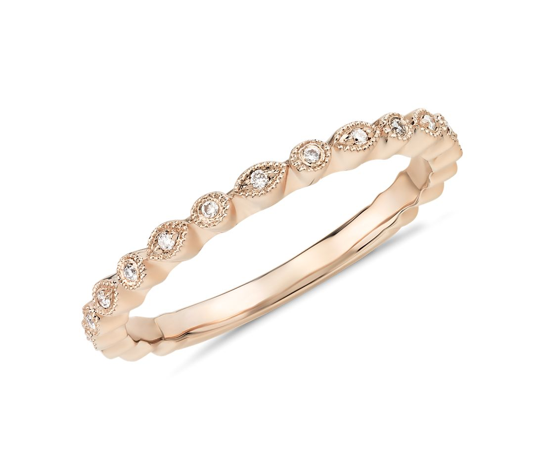 Petite Diamond Dot Ring in 14k Rose Gold