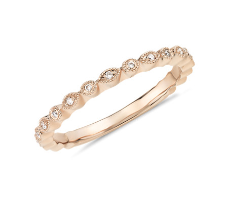 Petite Diamond Dot Stacking Ring in 14k Rose Gold