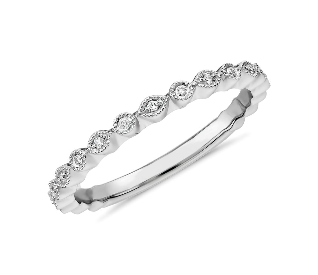 Petite Diamond Dot Stacking Ring in 14k White Gold