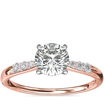 Petite Diamond Engagement Ring in 14k Rose Gold