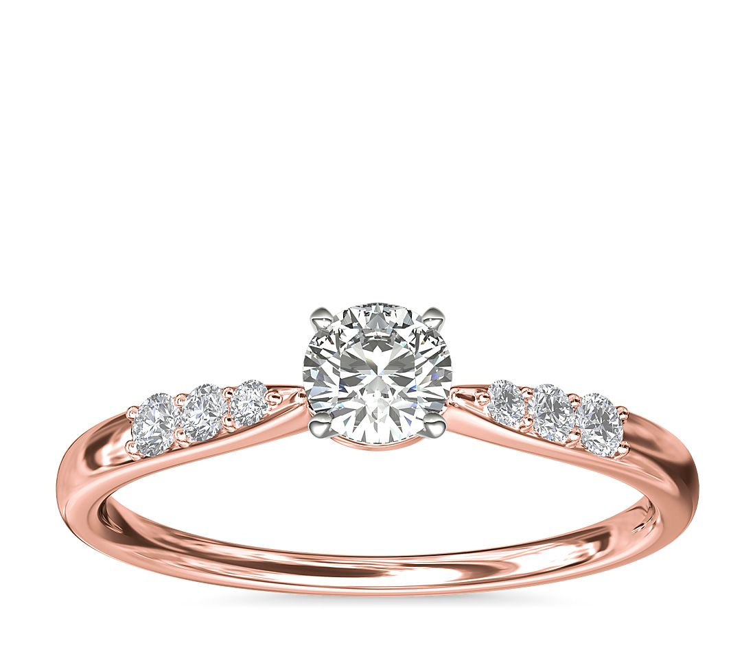 .23ct.RD in *Delicate* Petite Diamond Engagement Ring 14k Rose Gold