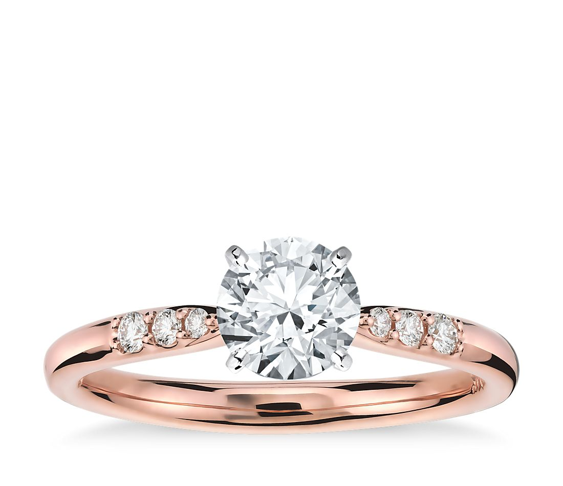 petite diamond engagement ring in 14k rose gold 1 10 ct. Black Bedroom Furniture Sets. Home Design Ideas