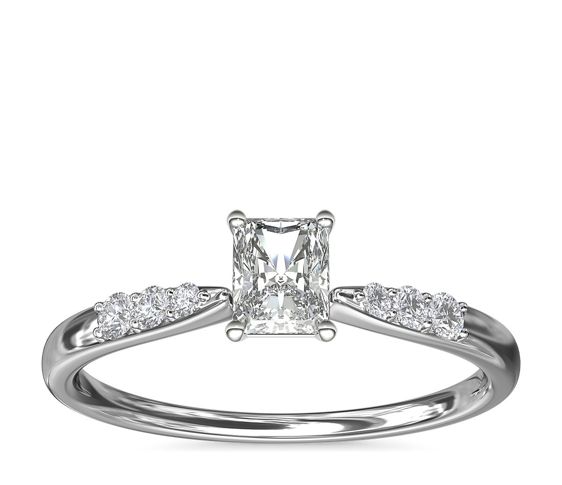 .55ct.RA in *Delicate* Petite Tapered Graduated Diamond Ring in 14KW Gold