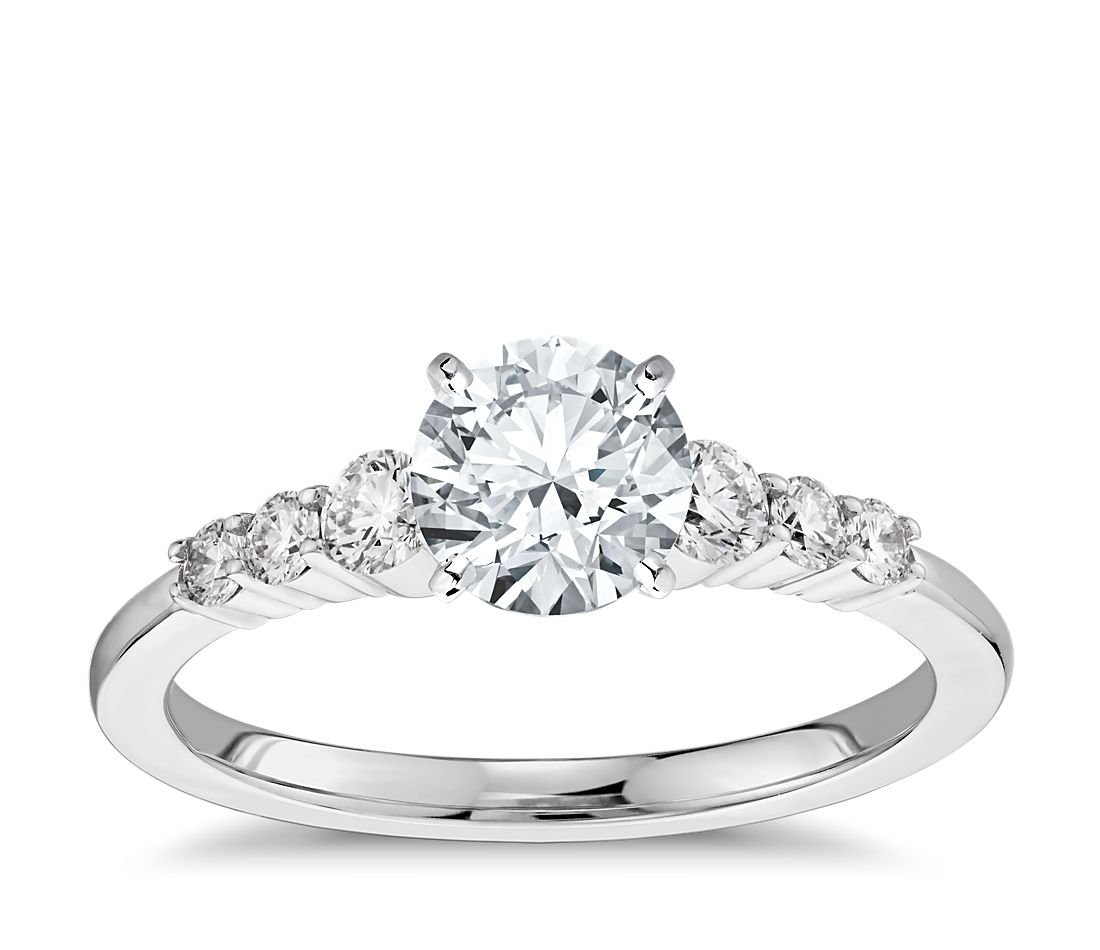 Petite Diamond Engagement Ring In 14k White Gold 1 4 Ct