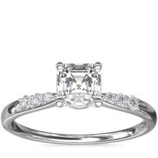 14k 白金小巧钻石订婚戒指<br>(1/10 克拉总重量)