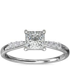 14k 白金小巧鑽石訂婚戒指(1/10 克拉總重量)