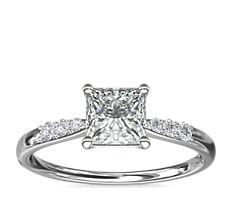 14k 白金小巧钻石订婚戒指(1/10 克拉总重量)