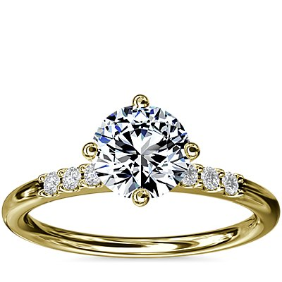 NEW East-West Petite Diamond Engagement Ring in 14k Yellow Gold (1/10 ct. tw.)