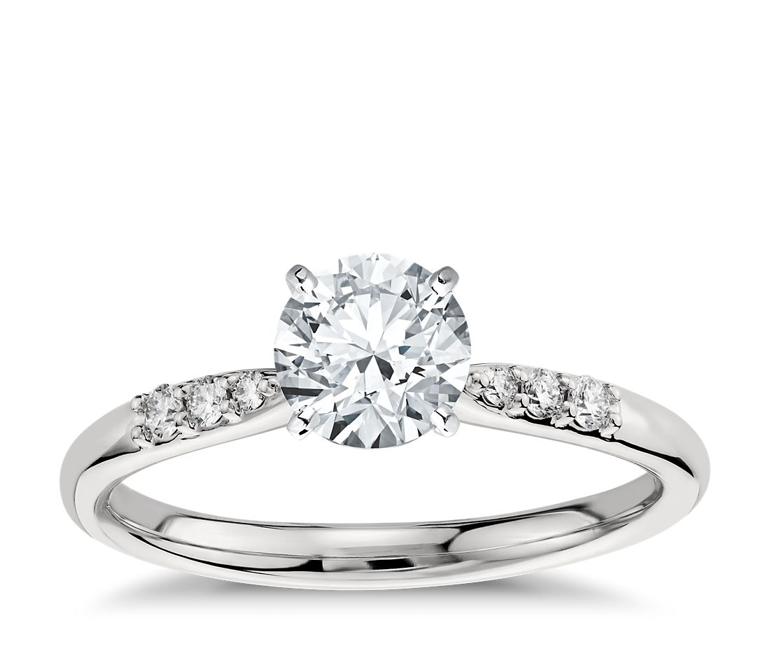 Petite Diamond Engagement Ring In Platinum 1 10 Ct Tw