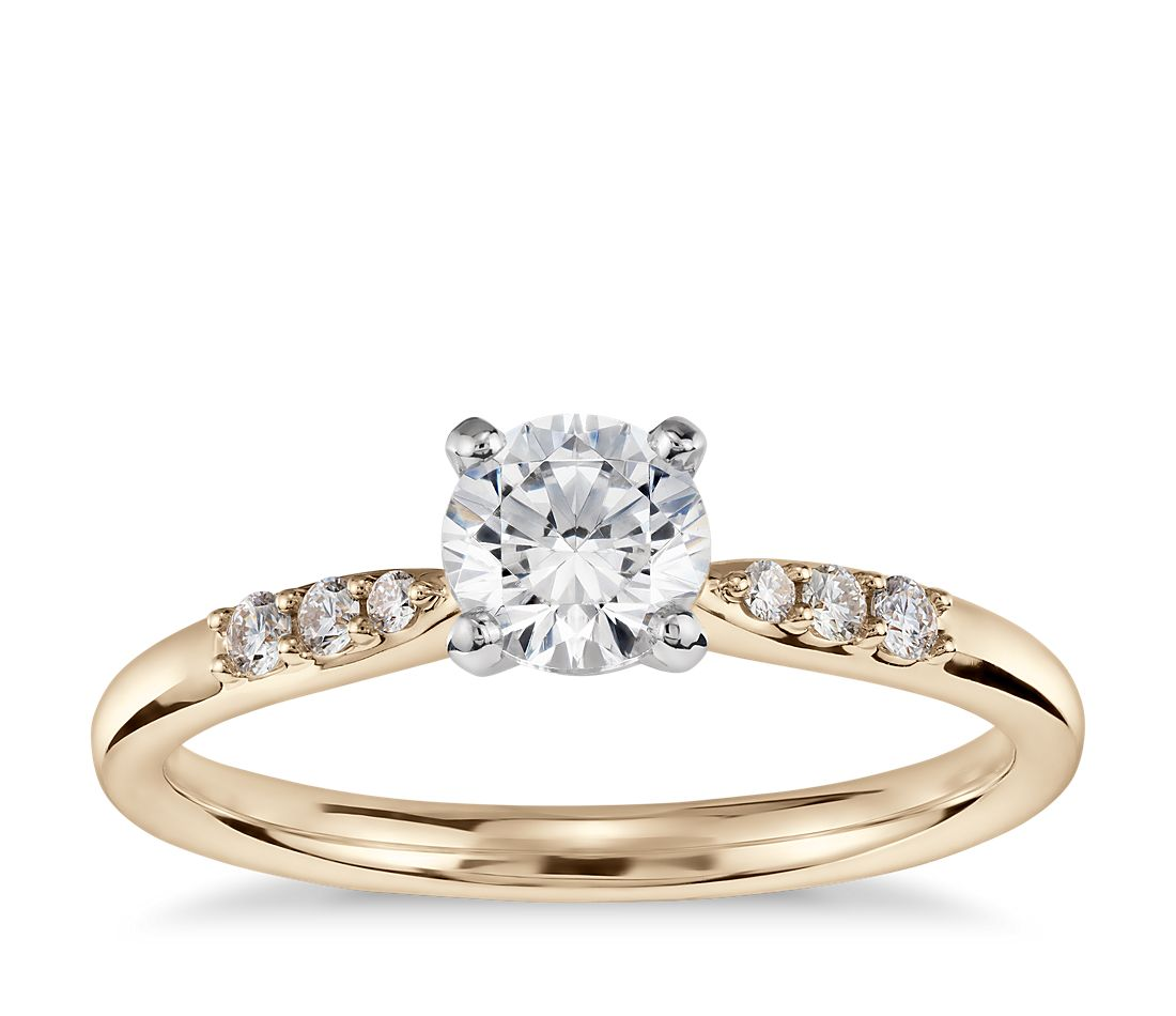1/2 Carat Preset Petite Diamond Engagement Ring in 14k Yellow Gold